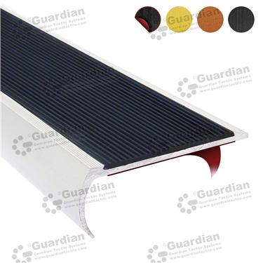 Product photo: Aluminium Bullnose - Black Polyurethane with D/S Tape [GSN-BNR-PBK-DST]