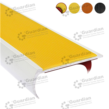 Product photo: Aluminium Bullnose - Yellow Polyurethane with D/S Tape [GSN-BNR-PYL-DST]